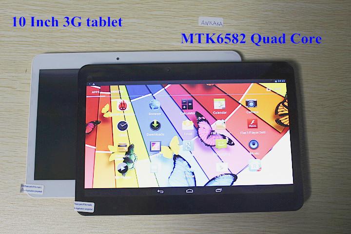 10 Inch 3G Phone Tablet PC MTK6582 3G WCDMA Android 4.4.2 Quad Core 1.5Ghz 2GB/16GB GPS Bluetooth Dual SIM Slots(China (Mainland))