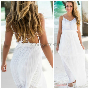 Long White Beach Wedding Dresses - Mother Of The Bride Dresses