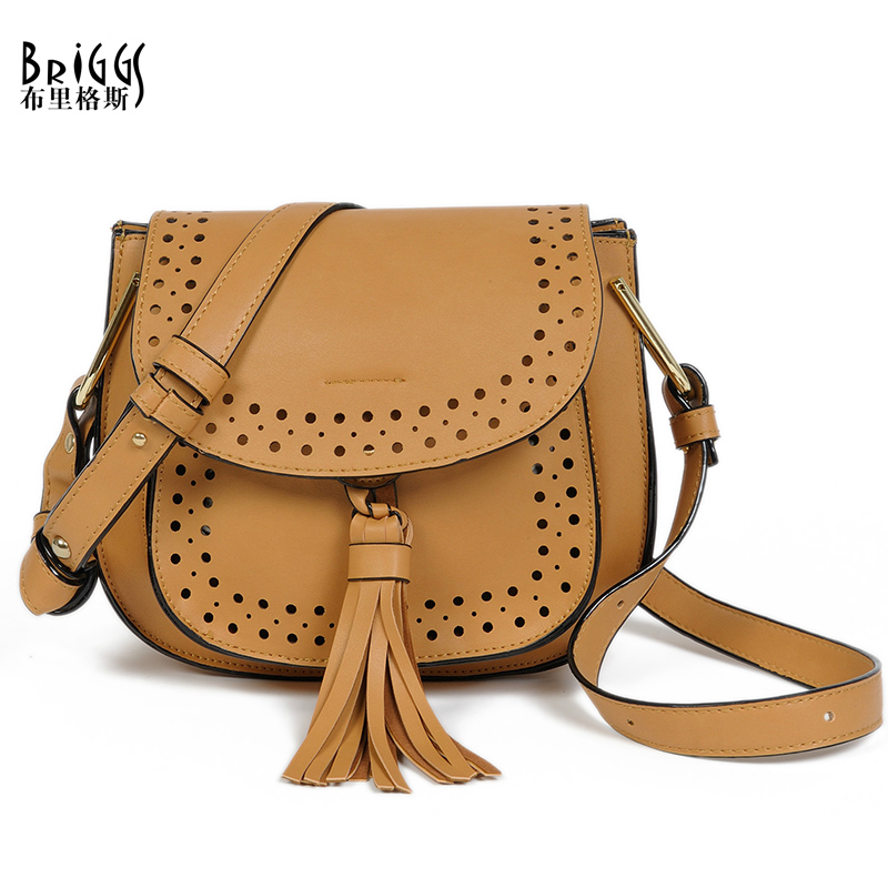 BRIGGS 2016 Fashion Tassel Women Messenger Bag Hollow PU Leather Shoulder Bag Saddle Crossbody Bags For Women(China (Mainland))
