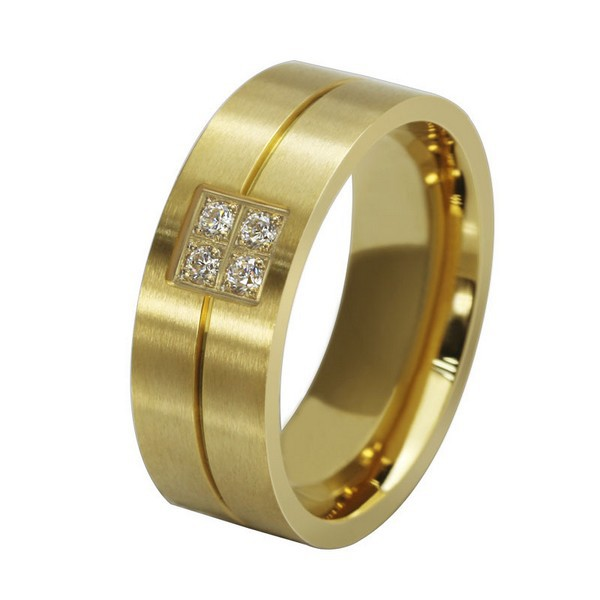 Top Quality 18K Gold Plated Titanium Steel Ring Mirco Paved Zircon Stainless Steel Ring Wholesale OTR17