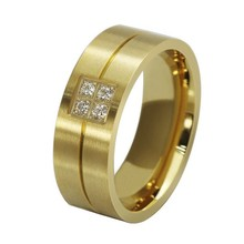 Top Quality Titanium Ring with Zircon Crystal,3 Colors Available,Popular Rings for Both Women & Men OTR017