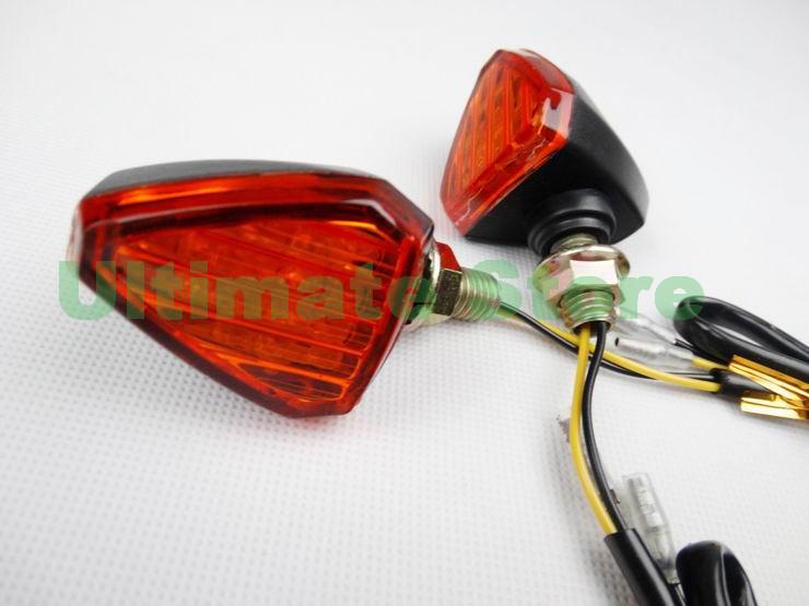 Motorcycle Black/Amber Lense Triangle LED Turn Signal Light Indicator For Harley Suzuki Kawasaki Honda Yamaha ATV 10mm Thread(China (Mainland))