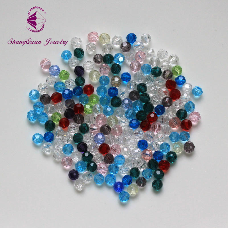 Sale 4MM 100 piece/lot Bicone Round Glass Stand Beads Football Faceted Crystal Spacer Loose Bead Jewelry Making Free Shipping(China (Mainland))