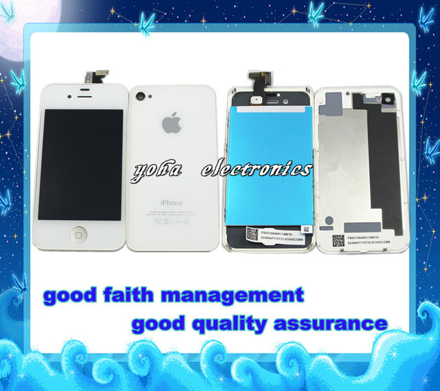 DHL/EMS freeshipping for iphone 4s lcd display+digitizer touch screen+back housing glass assembly,good quality,100% guarantee