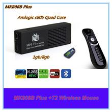 Mk808b плюс + T2 беспроводная мышь Android 4.4 TV Stick телевизор ключ Amlogic M805 четырехъядерных процессоров мини-пк HD1080P h. 265HEVC Bluetooth XBMC