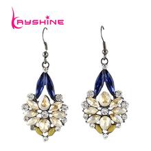 Lusso di cristallo blu del fiore ciondola gli orecchini per le donne 2015 estate stile pendientes(China (Mainland))