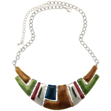 Fashion Jewelry 2015 Women Channel Necklace Ethnic Silver Plated Colorful Enamel Chunky Statement Choker Necklace