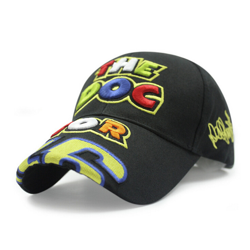 Hat factory wholesale High Quality 46 Embroidery Color Letter Hat Motorcycle Racing Cap Sport Baseball Cap(China (Mainland))