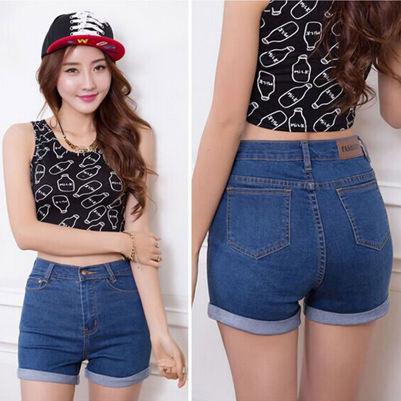 2016 Fashion Summer denim high waist shorts woman jeans short font b pants b font Slim