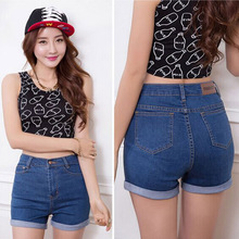 2016 Fashion Summer denim high waist shorts woman jeans short pants Slim Korean Casual women Jeans Shorts Plus Size