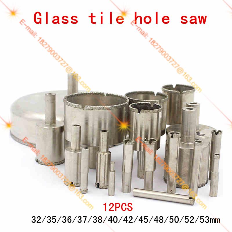 12PCS glass tile drill hole saw diamond drill hole diameter 32 53mm