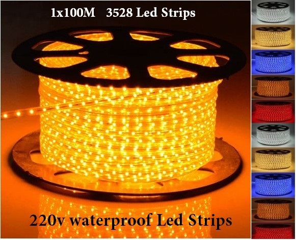Waterproof 100M 60leds/m 220V 3528 LED Strip light 3528 Flexible Ribbon LED String light Red blue yellow green white+Power plug(China (Mainland))