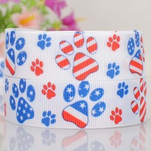 5 yards 7/8 » 22 mm independence day dog paw printed tape DIY handmade hairbow grosgrain ribbon free shipping