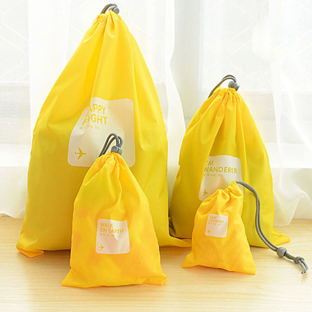 A Set of 4pcs Universal Outdoor Travel Waterproof Nylon Drawstring Storage Bags Pouches Organizers in Different Sizes (Yellow)(China (Mainland))