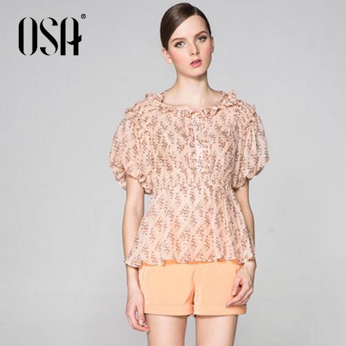 Promotion! OSA Womens Summer 100% Silk Blouse Shirt Floral Print Tops SV33125(China (Mainland))
