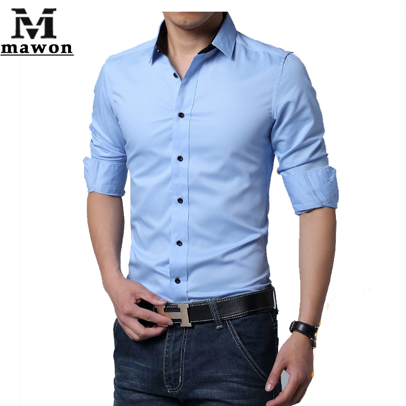 New 2015 spring mens dress shirt casual men slim long for High quality mens shirts