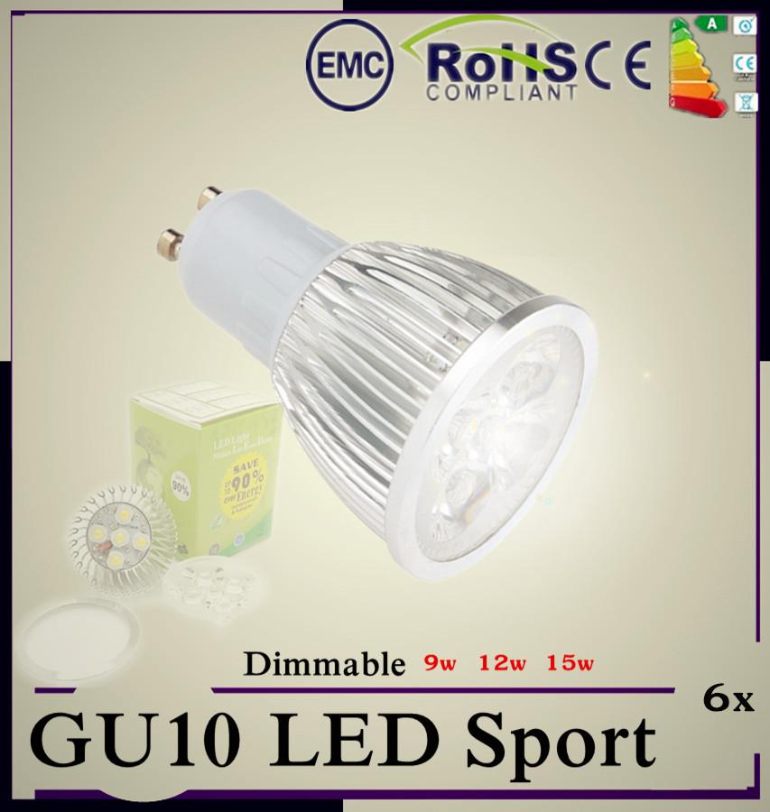 6pcs Super Bright 9W 12W 15W GU10 MR16 E27 LED Bulbs Light 110V 220V Dimmable Led Spotlights Warm/Cool White GU 10 base LED lamp(China (Mainland))