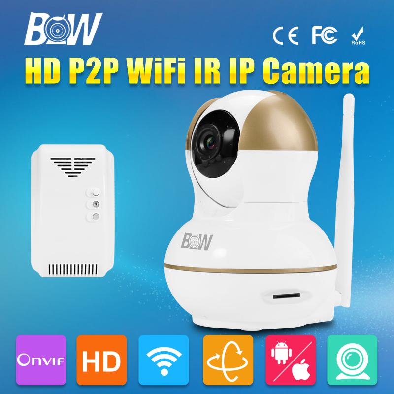 BW P2P Baby Monitor 1280*720P HD MegaPixel Lens Filter Mini IP Camera + Gas Detector Automatic Sensor Alarm System Security CCTV(China (Mainland))