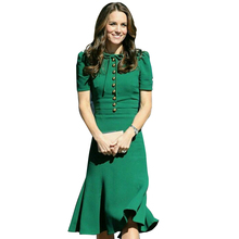 Buy Princess Kate Middleton Dress 2017 New Woman dress Spring Short Sleeve O-Neck Mermaid Elegant Dresses Work Wear Clothes SAD185AS for $47.20 in AliExpress store