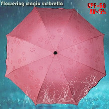 Buy Magic Water Flower Women Princess Umbrellas Black Coating Sunny Rainy Umbrella Three-folding UPF 50 UV 5% Sunscreen for $9.82 in AliExpress store