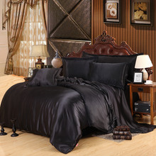 Custom-made Black Luxury Bedding Sets Solid Silk Satin 4 Pcs Queen/King Size Home Bedclothes Bed Linen Duvet Cover Set Bed Sheet(China (Mainland))