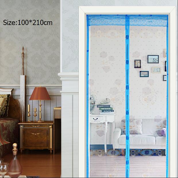 Mosquito Off Magnetic Screen Door Curtain Waterproof High-grade Soft Gauze Stripe Hands-free More Compact Door Curtain(China (Mainland))