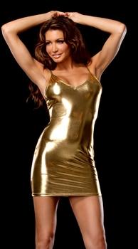 Punk ktv gold sexy short skirt spaghetti strap bodysuit dress 53