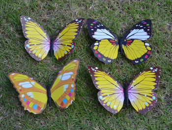 10pcs 15cm Yellow 3D PVC Butterfly Fridge Magnet Sticker Note Holder Home Decor Child Toy Business Promotion Gift