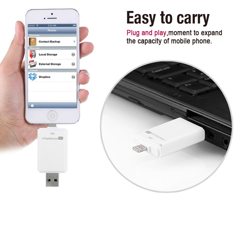 Real Capacity OTG For iPhone 5/5s/5c/6/6 Plus/ipad Usb 2.0 Flash Drive 64GB 32GB 16GB 8GB Pendrive(China (Mainland))