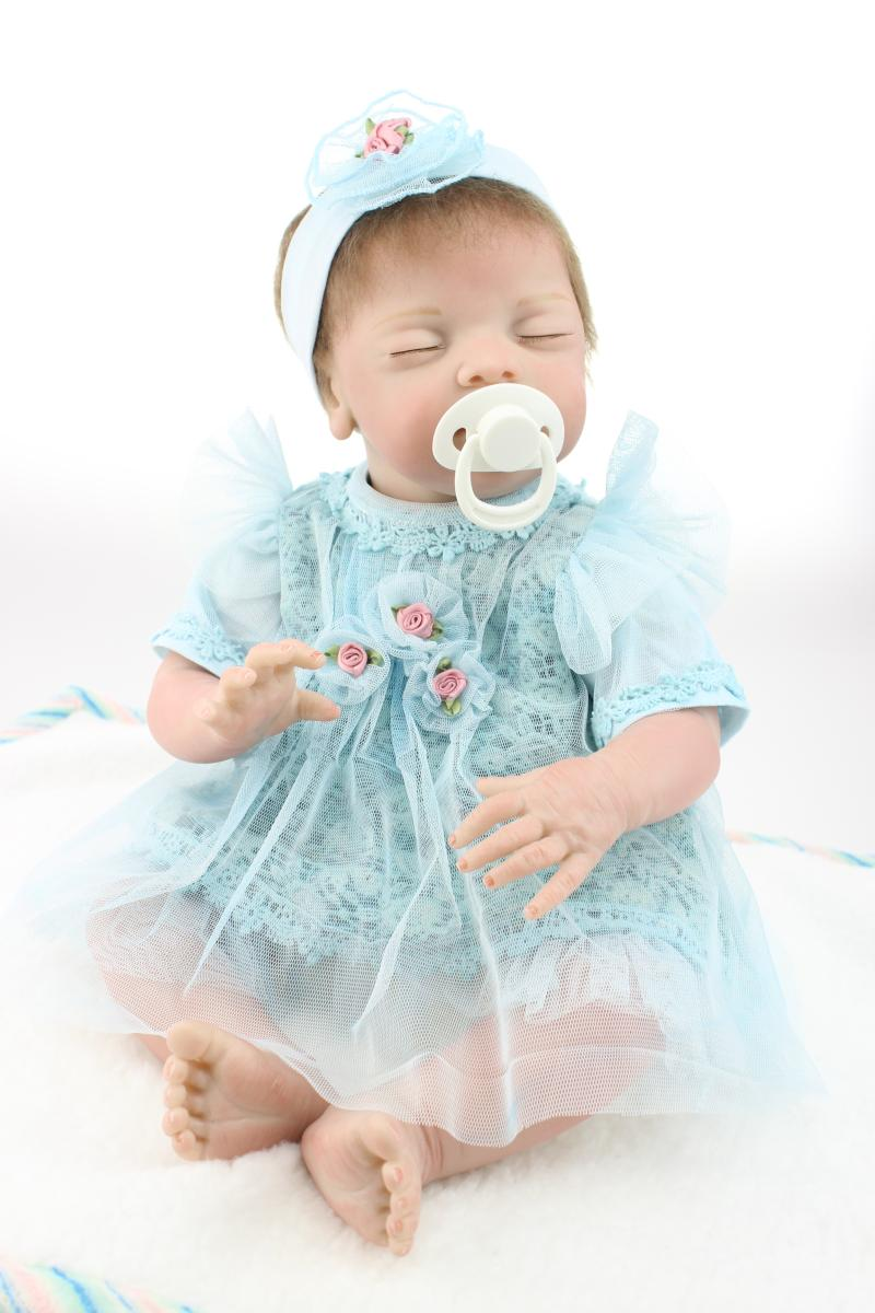 20inch 50cm Magnetic Mouth Reborn Baby Doll Soft Silicone Lifelike Toy Gift for Children Christmas Present Blue Dress<br><br>Aliexpress