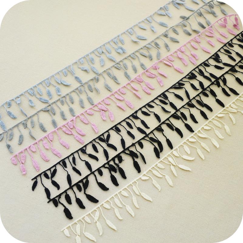 10Yard/Lot 3.5CM small leaf tassel fringe cotton lace trim handmade diy sofa curtain clothing accessories lace fabric(China (Mainland))