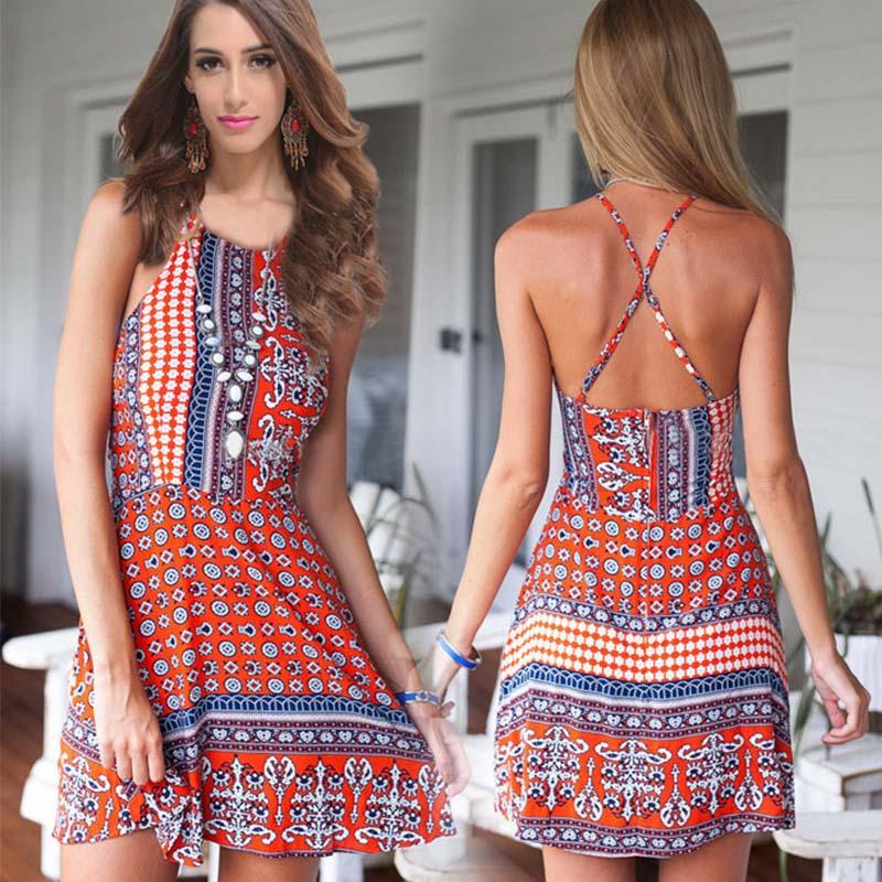 spaghetti straps flower dress for women short printed summer dresses casual woman vestido vintage moda boho clothing