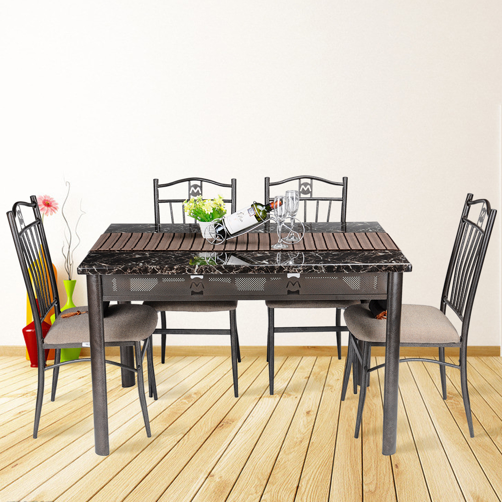 5 pcs dining room table 4 chairs seat wooden folding for Four chair dining table set