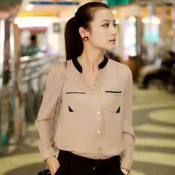Лето стиль цвет воротник-стойка рубашка шифон гофрирование топы женское длинная - ...