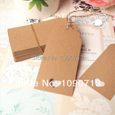 Wholesale 100X Rectangle With Hollow Heart Label Retro Kraft Cards Paper Tags Gift Tag Bookmarks DIY Wedding Gifts Decro(China (Mainland))