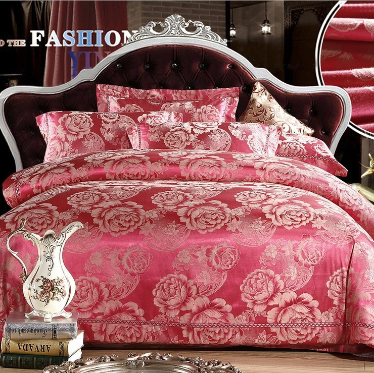 2014 New Style! Luxury tribute silk jacquard bedding set with good quality including bed linen and pillow case(China (Mainland))