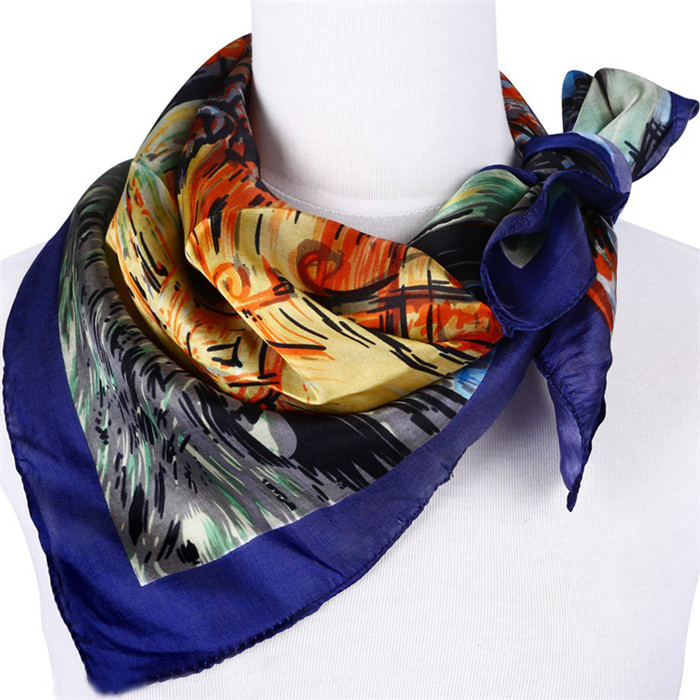 2015 Fashion Foulard Ladies Winter Scarves,High Quality Painting Square Women's Silk Scarf Shawl(China (Mainland))