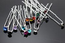 10 PCS Mariées Cheveux Accessoires Simple Cheveux Pins Strass Épingles À Cheveux Femmes De Mariage Bijoux De Cheveux (4.6mm) H-425(China (Mainland))