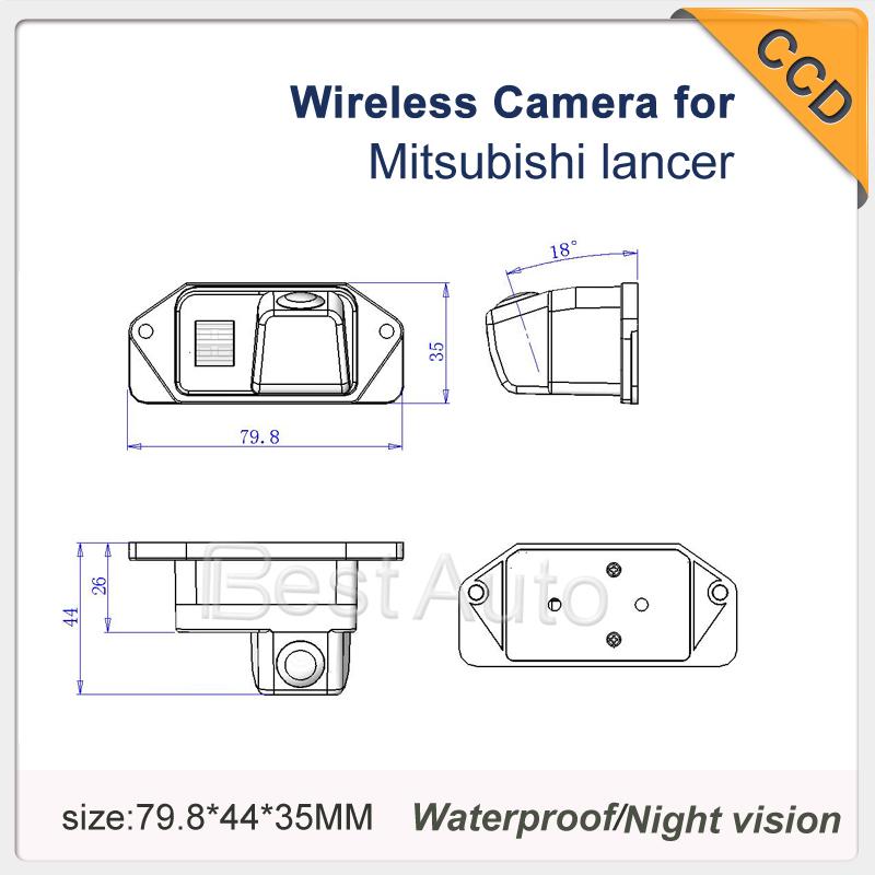"High quality wireless HD CCD 1/3"" Pixels: 728*582 car reverse rear view rear backup camera for Mitsubishi Lancer night vision(China (Mainland))"
