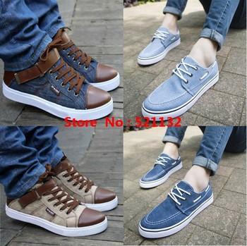 2015 New Men's Denim water wash canvas shoes classic Fashion breathable  men  Casual sneaker  Dark Light Blue Spring Autumn