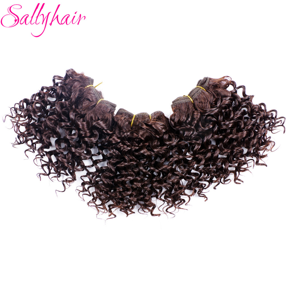 Sallyhair Ombre Color Afro Kinky Curly Crochet Hair Weave Mixed Black Burgundy Synthetic Hair Extensions 3pclot Hair Weavings  (13)