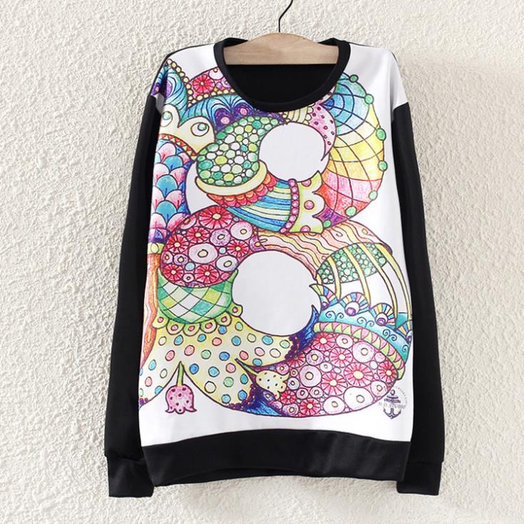 2014 New Autumn Hitz Korean version painting loose long-sleeved round neck hoodies women sportswear casual hoody pullover coat(China (Mainland))