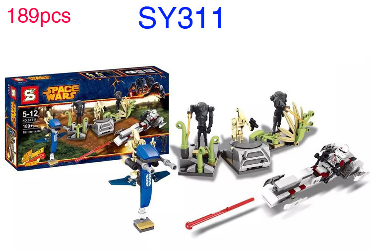 SY311 189pcs bricks/set Star Wars Battle on Saleucami Clone & Battle Droids include BARC CLONE TROOPER Minifigure toys(China (Mainland))