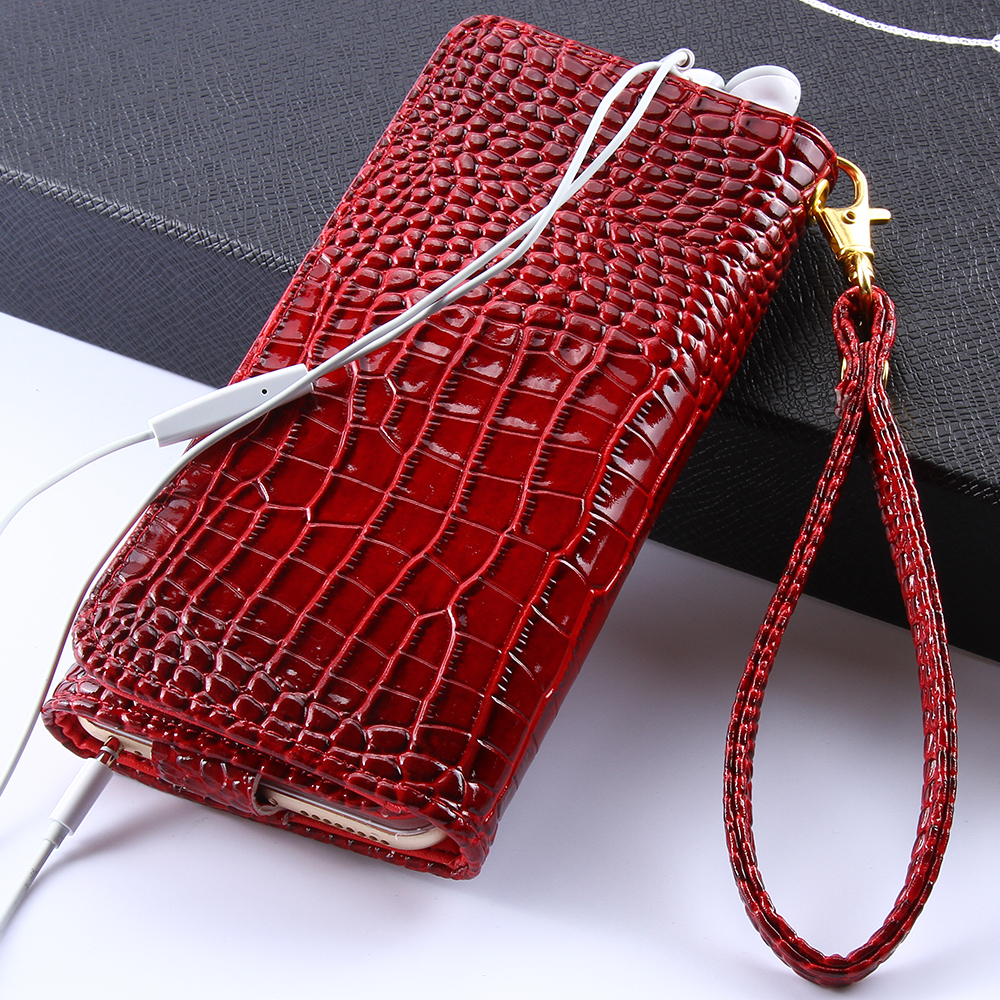 Universal 5.5 inch Case iPhone 6 6s Plus SE 5s 4s Samsung Galaxy S5 S4 S6 S7 Edge Cover Crocodile Wallet Leather - RCD Technology store