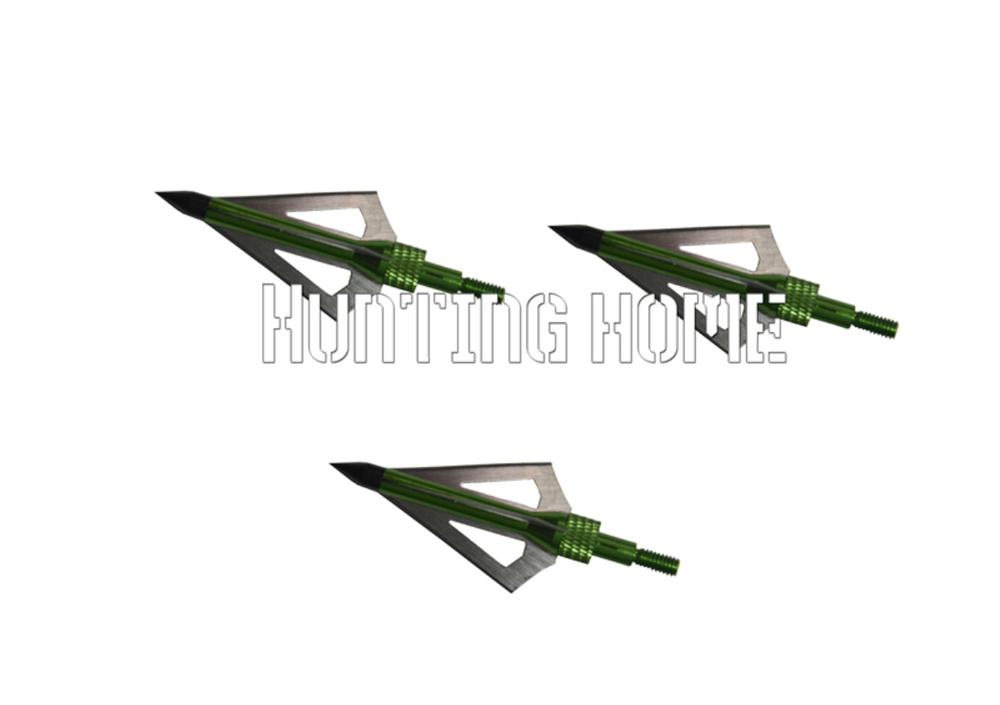 12pcs 100grain Bow and Crossbow arrow broadhead Green Hunting Broadheads