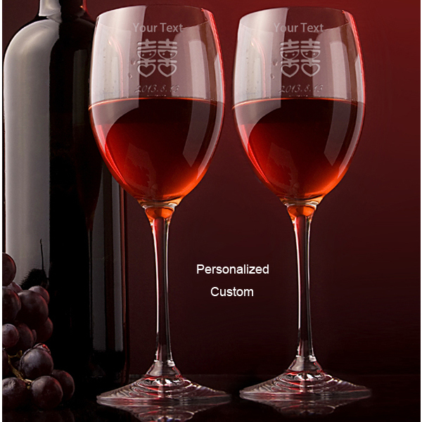 Etched Wine Glasses Wedding Gifts : ... Personalized Wedding Gifts for Bride and Groom-in Wine Glasses from