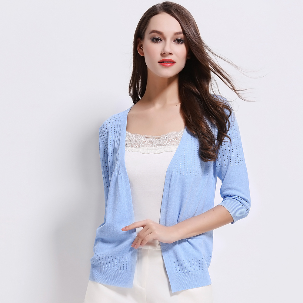 Summer New Loose Thin Sun Block Knitted Cardigans Quality Brand One Size Pure Color Casual Women Sweaters(China (Mainland))