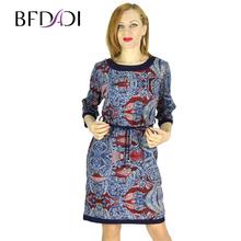BFDADI 2016 европейский стиль осенью мода с о-образным вырезом ретро моделей с поясом женщины одеваются работа свободного покроя Большой размер платье 73694(China (Mainland))