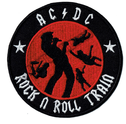 """Fantastic AC DC Rock N Roll Train Embroidered Patch Jacket Vest Logo Iron Patch Applique Patch 3.5"""" Around G0156 Free Shipping(China (Mainland))"""