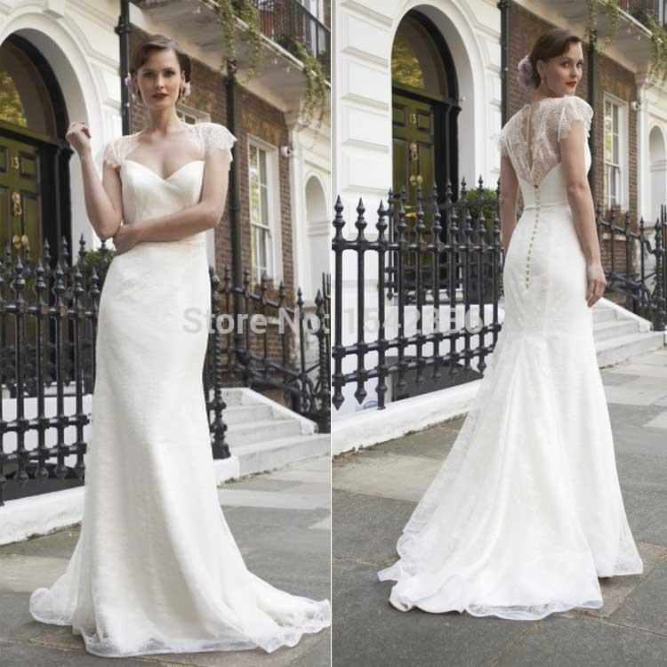 New sheer lace garden wedding dresses romantic a line for Garden wedding party dresses